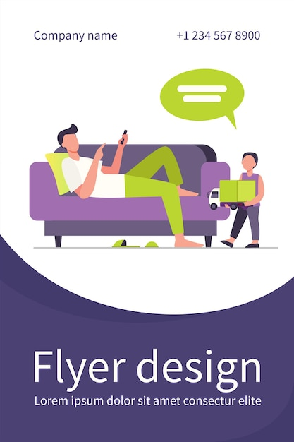 Father lying on sofa and listening son with toy. child, truck, speech bubble flat illustration. flyer template Free Vector