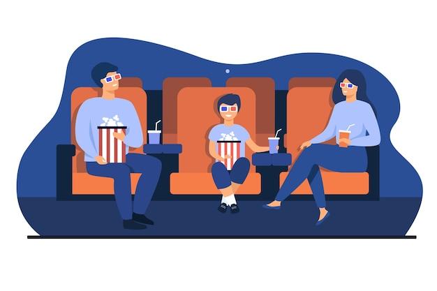 Отец, мать и сын в 3d-очках сидят в креслах, держат ведра с попкорном и содовой и смотрят смешной фильм в кинотеатре. векторная иллюстрация для семейного досуга, концепция развлечений Бесплатные векторы