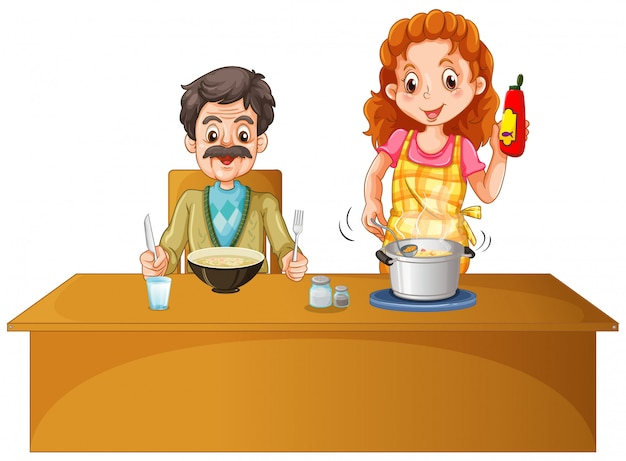 Father and mother having meal on the table Premium Vector