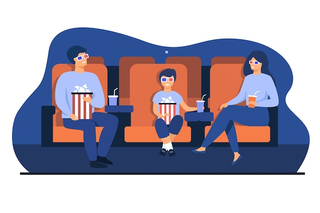 Padre, madre e figlio in occhiali 3d seduti sulle sedie, tenendo secchi di popcorn e soda e guardando film divertenti al cinema. illustrazione vettoriale per il tempo libero in famiglia, concetto di intrattenimento Vettore gratuito