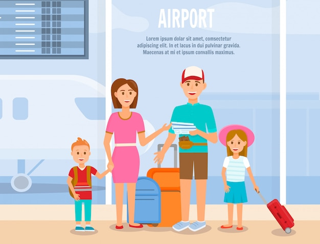 Father and mother travel with kids characters. Premium Vector