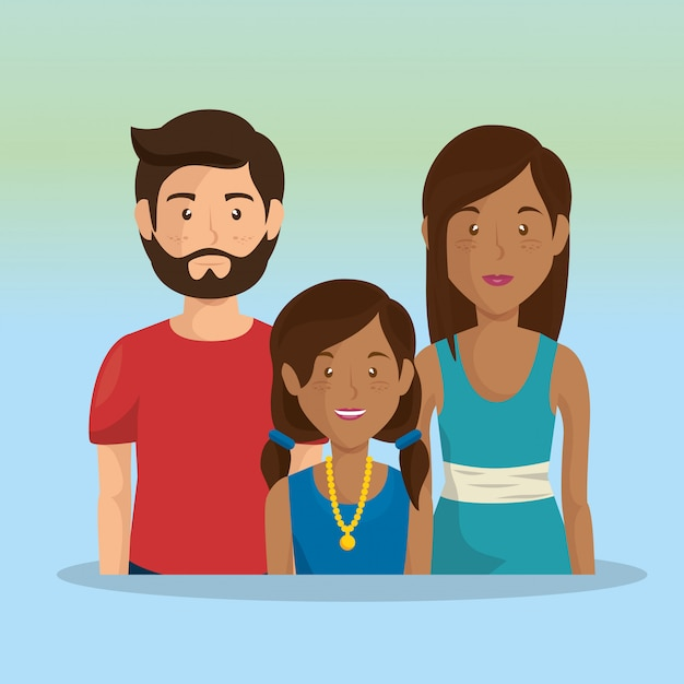 Father and mother with daughter Free Vector