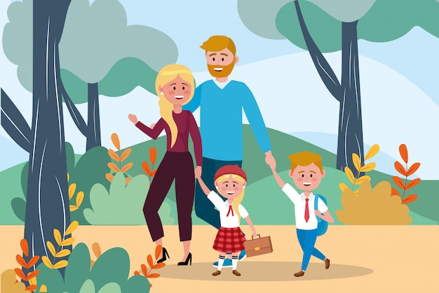 Father and mother with their girl and boy and backpack Free Vector