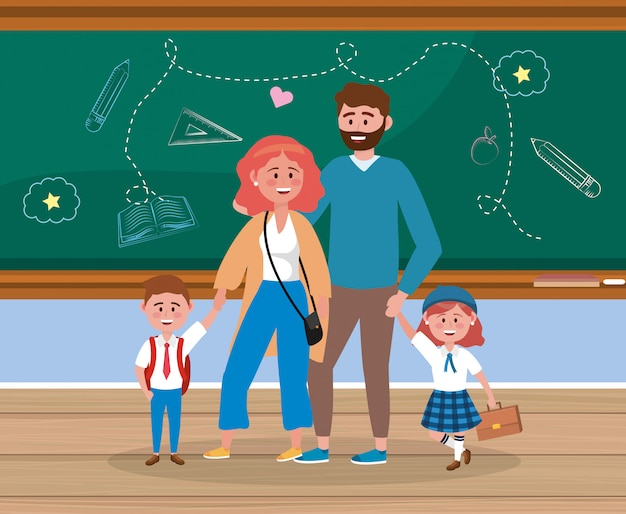 Father and mother with their girl and boy students with backpack Free Vector