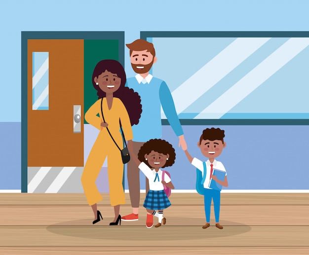 Father and mother with their girl and boy with backpack Free Vector