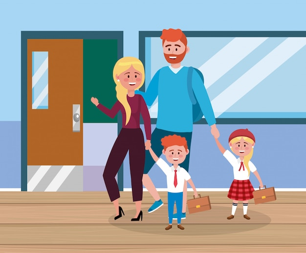 Father and mother with their girl and boy with suitcase Free Vector