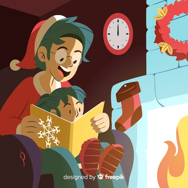 Father reading to her daughter christmas illustration Free Vector