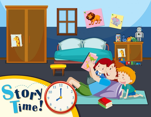 Father reading story to children Free Vector
