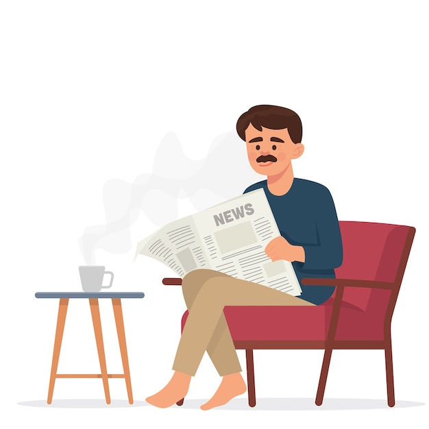 Father reads newspaper and drink coffee Premium Vector