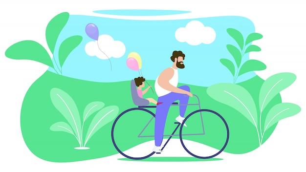 Father rolls child on bike Premium Vector