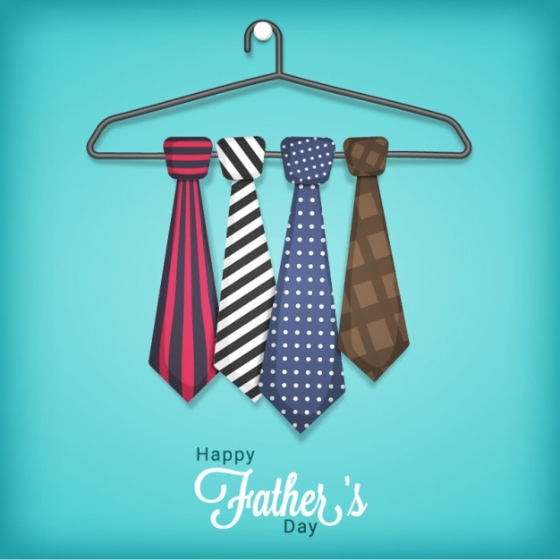Father's day background of hanger with neckties Premium Vector