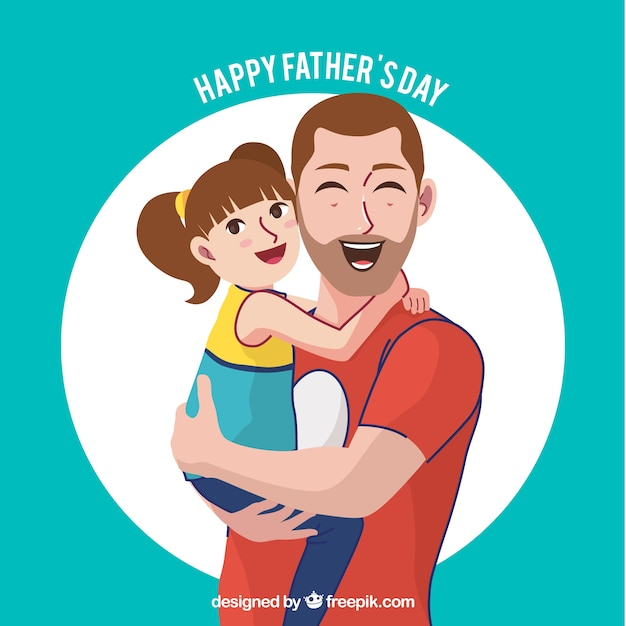 Father\'s day background of happy man with his\ daughter
