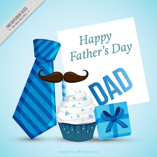 Father's day background with decorative items in blue tones Free Vector