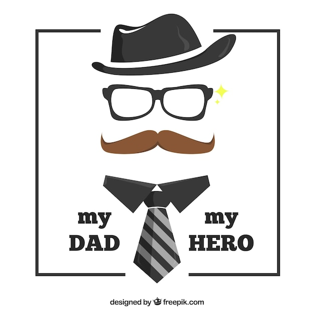 Father's day background with elements Free Vector