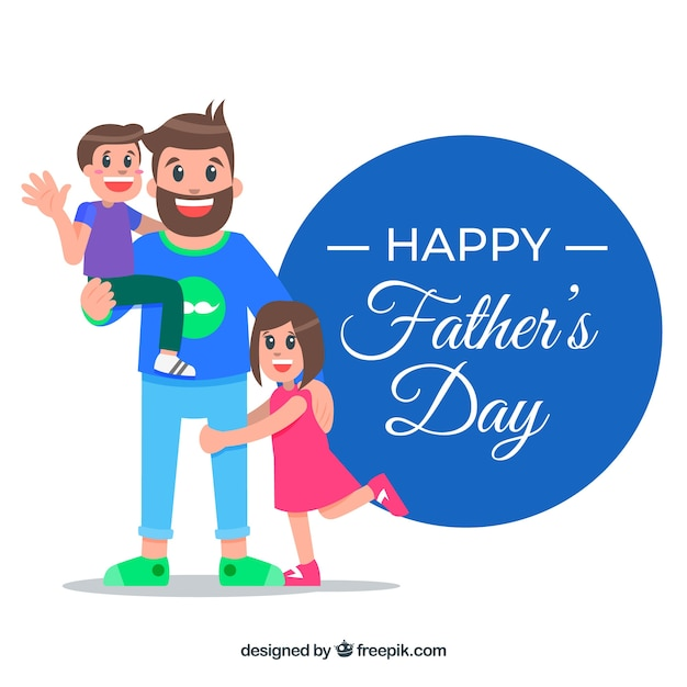 Father\'s day background with family in flat\ style