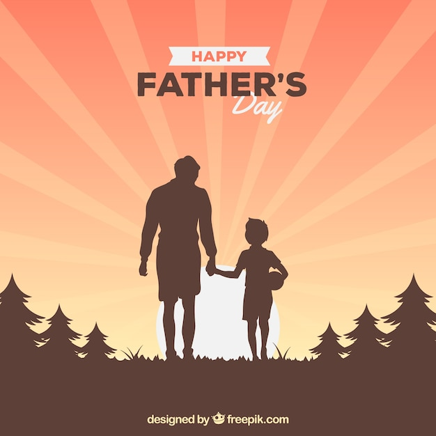 Father's day background with family silhouette Free Vector