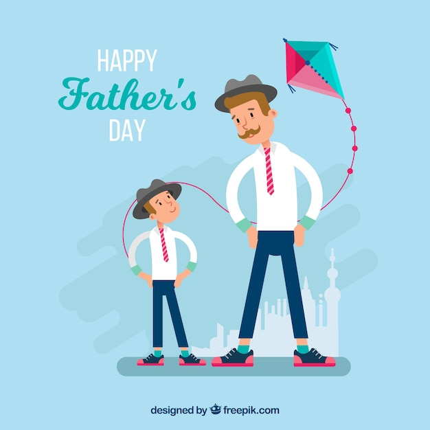 Father\'s day background with happy family in\ flat style