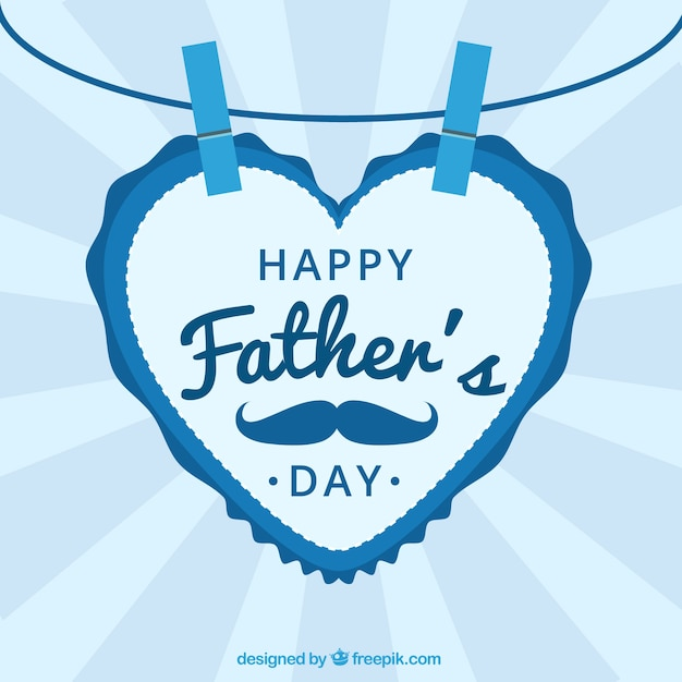 Father's day background with a heart-shaped letter Free Vector