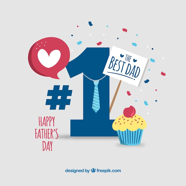Father's day background with number one Free Vector