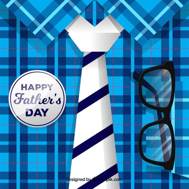 Priorità bassa di festa del papà con camicia e cravatta Vettore gratuito
