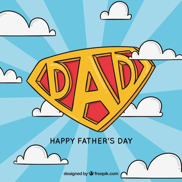 Father\'s day background with super dad\ insignia