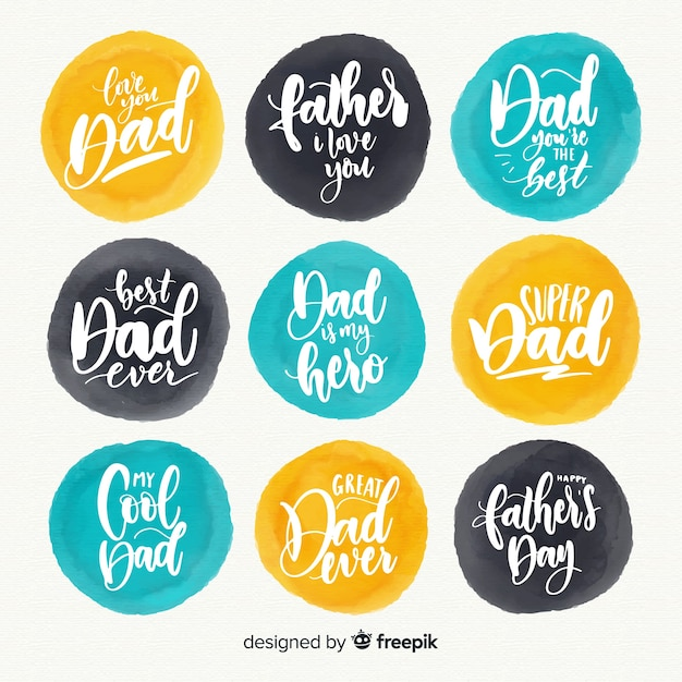 Father's day badge collection Free Vector