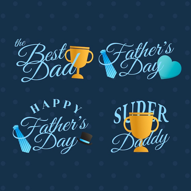 Father's day badge set Free Vector