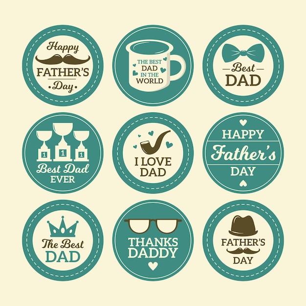 Badge festa del papà in design piatto Vettore gratuito