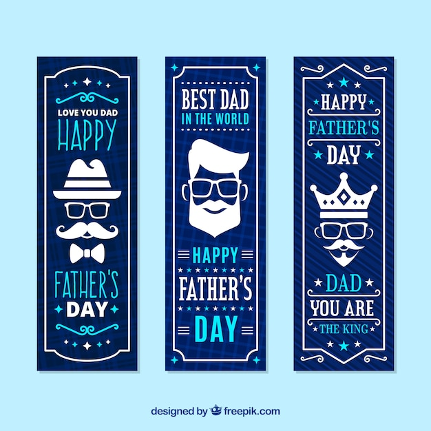 Father's day banners collection with different faces Free Vector