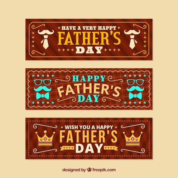 Father's day banners collection with ornaments Free Vector