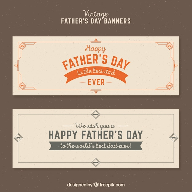 Father\'s day banners in vintage style