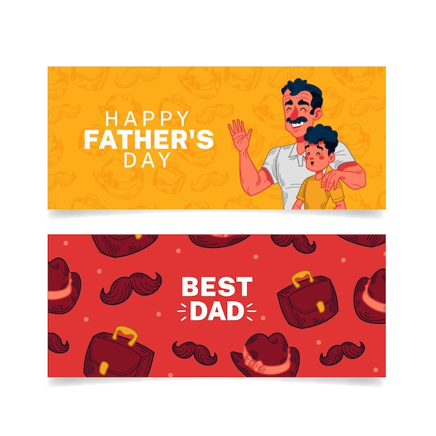 Father's day banners with dad and son Free Vector