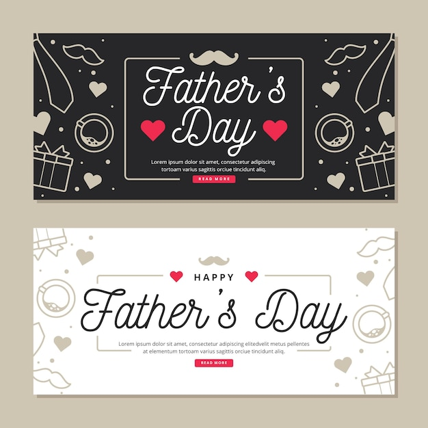 Father's day banners with hearts Free Vector