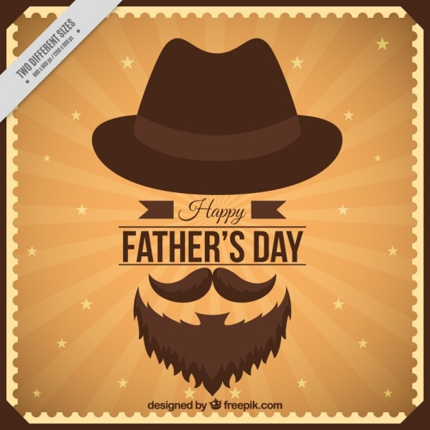 Father's day card in vintage design with elements Premium Vector