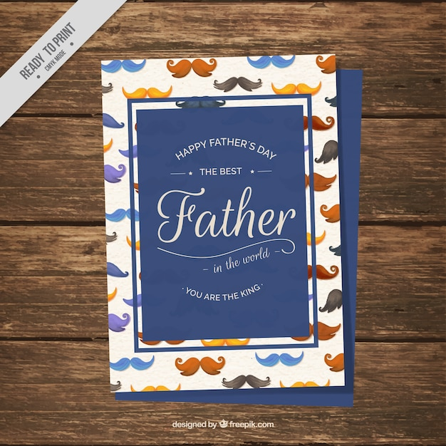 Father\'s day card with watercolor\ mustaches