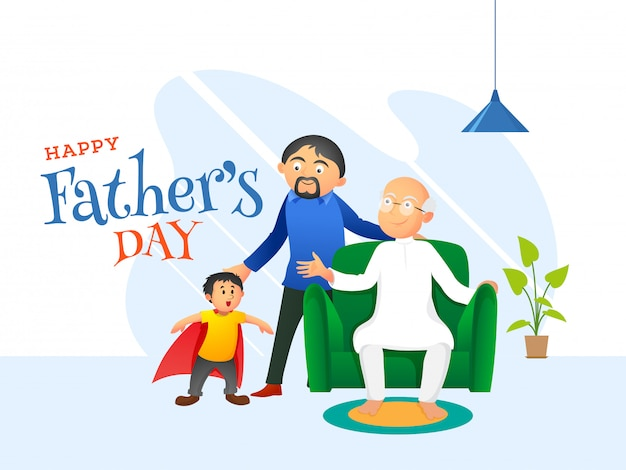 Father's day concept. Premium Vector