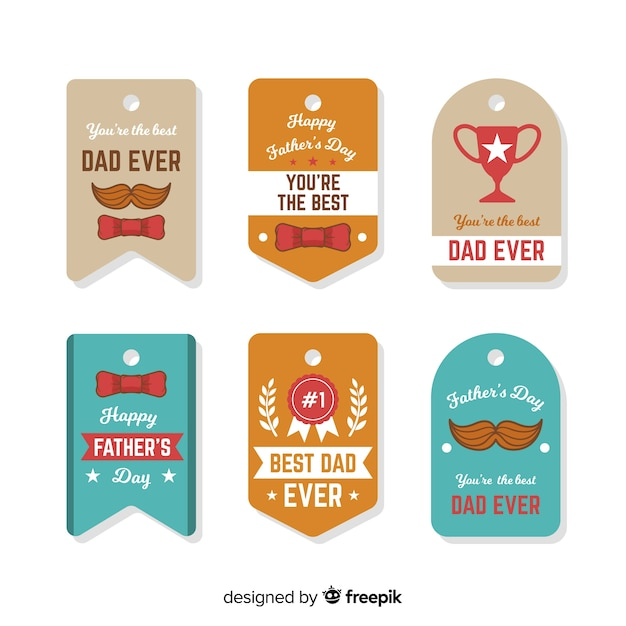 Father's day label collection Free Vector
