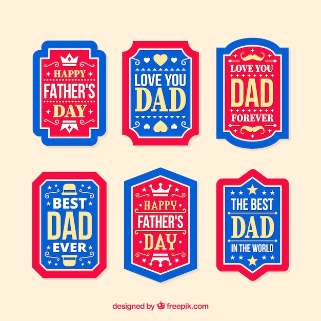 Father's day labels collection in flat style Free Vector