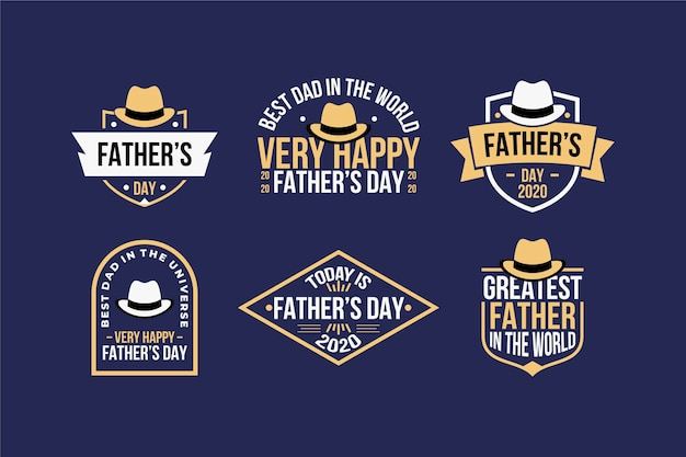 Father's day labels concept Free Vector