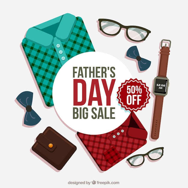 Father's day sale background with clothes Free Vector
