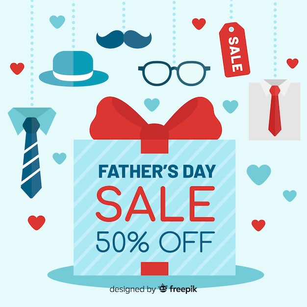 Father's day sale background Free Vector