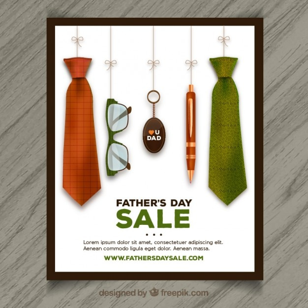Father's day sale poster Free Vector