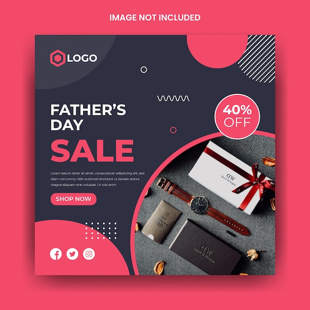 Father's day sale social media instagram post template Premium Vector