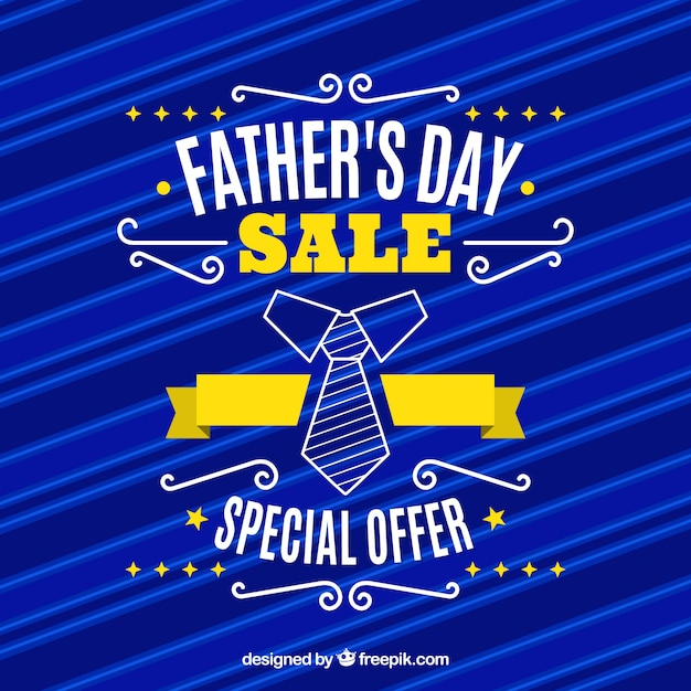 Father's day sale template with blue pattern Free Vector