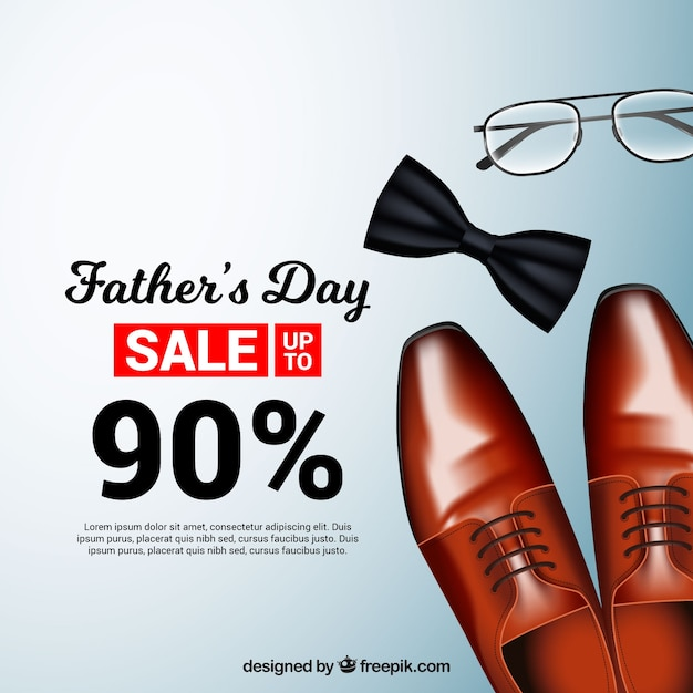 Father's day sale template with realistic clothes Free Vector