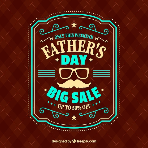 Father's day sale template with red pattern Free Vector