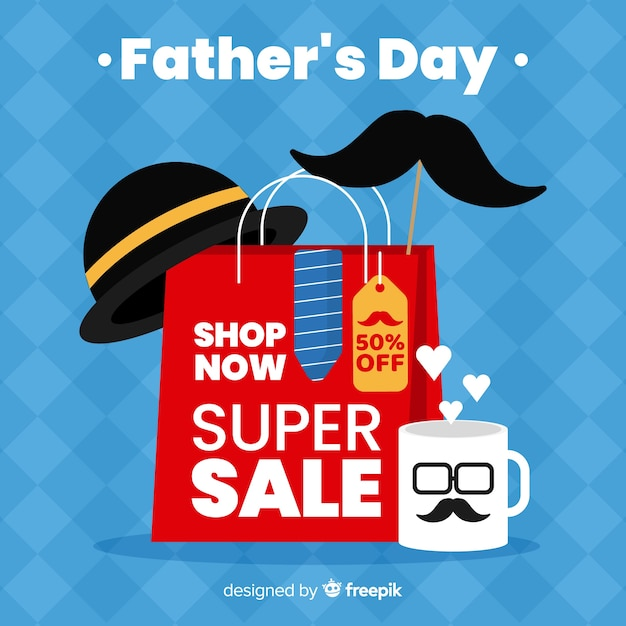 Father's day sales background Free Vector