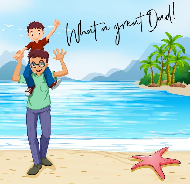Father and son on the beach Premium Vector