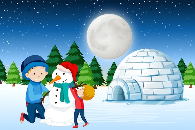 Father and son building snowman Premium Vector
