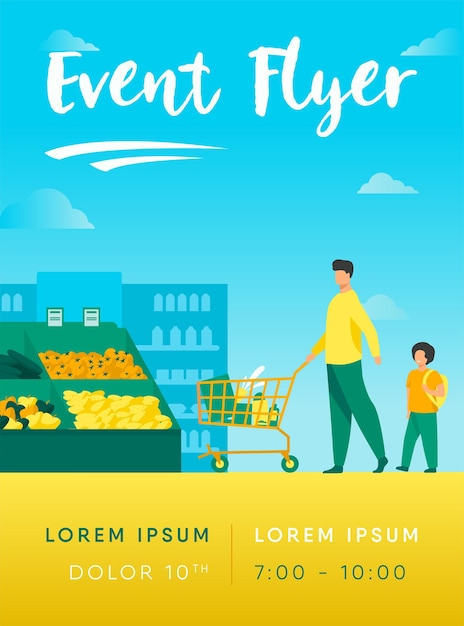 Father and son buying food in supermarket flyer template Free Vector